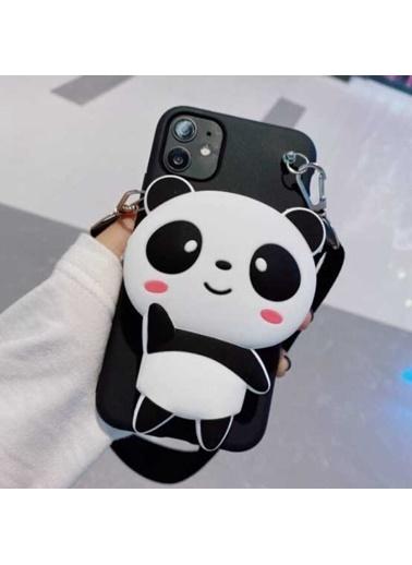 MobilCadde iPhone 11 Cüzdanlı Boyun Askılı Panda Kılıf Siyah